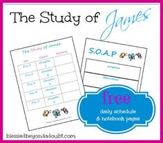 FREE Study of James Daily Schedule & Notebook Pages!  #bible #christian #homeschool