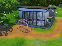 A 30x20 lot, one bedroom and one bathroom, a lot of color and a lot of green! Found in TSR Category 'Sims 4 Residential Lots'