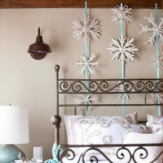Winter Theme Decorating Ideas | Winter Decorating Ideas-at-home-wood-snowflakes-bedroom