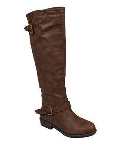 Brown Stud Spokane Wide-Calf Boot