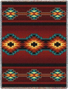 Southwest Geometric Deep Red Tapestry Throw blanket pillow sham set southwestern decor accent pure country weavers made in usa Tapestry Crochet, Tapestry Weaving, Southwestern Blankets, Southwestern Home Decor, Southwest Style, Native American Decor, Native American Patterns, Indian Blankets, Loom Beading
