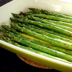 AMAZING Baked Asparagus with Balsamic Butter Sauce Recipe - I followed one reviewers recommendation to brown the butter and it gave the asparagus a grilled taste. I followed the recommendation to use less soya sauce and more balsamic vinegar.This was really good and extremely easy!