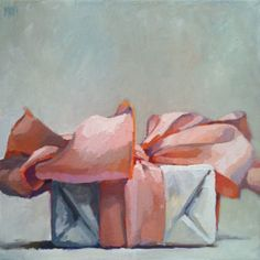 Karen Appleton's painting, but I think this is just an adorable way to wrap a present. With such a huge bow.