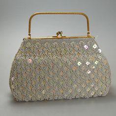 Gorgeous vintage circa 1930's cream hand beaded & sequined evening handbag