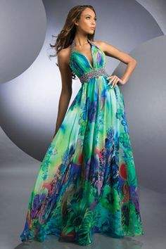 tropical bridesmaids formal dresses | Shimmer 59215 Tropical Garden Print