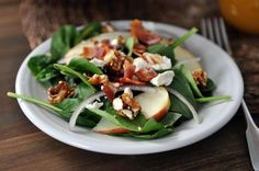 Spinach Salad with Sweet-Spicy Nuts, Apples, Feta and Bacon via @melskitchencafe