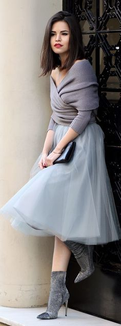 Grey Faux Tulle Skirt , Off shoulder Cute Sweater and High Heel Booties   Street Style