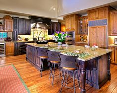 This could be my perfect kitchen!!!!  Love the different colored cabinets!
