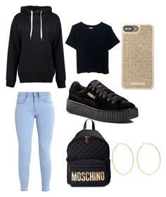 """""""Black and Gold"""" by reginaj1021 on Polyvore featuring Boohoo, Puma, Moschino, Michael Kors and Kenneth Jay Lane"""
