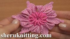 How to crochet Irish Flower tutorial 18 http://sheruknitting.com/videos-about-knitting/irish-and-guipure-crochet-lace/item/845-crochet-irish-flower-motif-tutorial-18.html In irish lace tutorial I will be making irish crochet flower motif. This irish crochet flower motif has beautiful 3D double colored folded petals.
