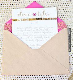 gold and pink wedding invite | VIA #WEDDINGPINS.NET