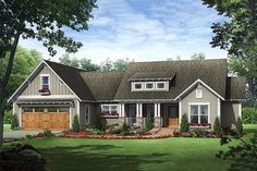 Craftsman Style House Plan - 3 Beds 2.5 Baths 1818 Sq/Ft Plan #21-357 Exterior - Front Elevation - Houseplans.com