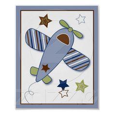 Zoom Along Airplane Nursery Wall Art Print