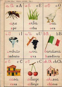 ilclanmariapia: I poster a scuola Vintage Book Art, Vintage Cards, Vintage Toys, Vintage Posters, Retro Vintage, Italian Alphabet, Vintage School, Italian Language, Learning Italian