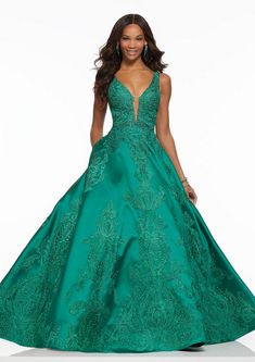 Shop Morilee's Beaded Lace A-Line Prom Dress. Elegant A-line gown with v-neckline, allover beaded lace appliqués and hidden pockets on Larissa satin. Mori Lee Prom Dresses, Prom Dresses Jovani, Sherri Hill Prom Dresses, A Line Prom Dresses, Beautiful Prom Dresses, Pageant Dresses, Formal Dresses, Grad Dresses, Formal Wear