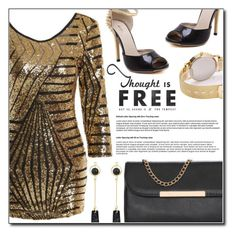 """""""Chic Scoop Neck 3/4 Sleeve Sequined Bodycon Women's Dress"""" by fashion-pol ❤ liked on Polyvore"""