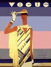 Vogue magazine cover Summer Fashion Deco Lady July 1928 art poster print SKU2618