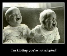 I'm kidding. You're not adopted!