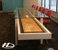 Hudson Shuffleboard Clients Acid Etched Glass, Shuffleboard Table, House Games, Barn Kitchen, Wenge Wood, Custom Carpet, Dimmable Led Lights, Acrylic Panels, Oak Stain