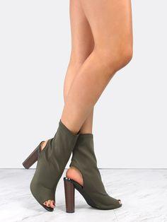 #AdoreWe #SheIn Boots - SheIn Peep Toe High Shaft Booties OLIVE - AdoreWe.com