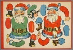 paper doll ca. Noel Christmas, Christmas Paper, Christmas Toys, Christmas Images, Vintage Christmas, Vintage Santas, Paper Puppets, Paper Toys, Vintage Paper Dolls