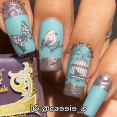 Here is the tutorial for my Vintage Bird & Butterfly mani I showed you earlier . ▪️▪️▪️ . ⚜Stamping plate: @moyra_nailpolish 05 Vintage & 14 Moments ⚜Stamping polish: @messymansion Soft Gold & @mundodeunas Dark Gray ⚜Polish: @el_corazon_shop 423/277 Cream, Charm & Beauty 880 & 892 . ▪️▪️▪️ . How cute is this fluffy birdie?✨ Couldn't resist featuring him on my demo finger As usual, full tutorial including my other fingers will be up on my YouTube (Cassis P) later