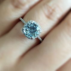 Natural Faceted Round Cut AquaMarine 14k Solid White Gold Cushion Halo Micro Pave Diamond Setting 1.7 CTTW - Fire & Brilliance ® Creative Designs - Fire & Brilliance ® - 1