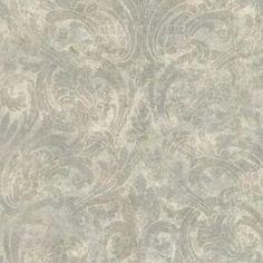 Brewster Distressed Noveau Damask Wallpaper