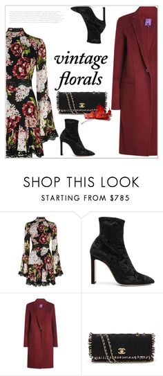 """""""Smell the Roses: Vintage Florals"""" by bliznec ❤ liked on Polyvore featuring Nicholas, Jimmy Choo, Theory, Chanel and vintage"""