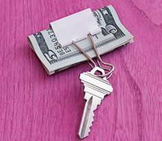 Binder clip as a key chain and money holder