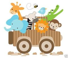 Jungle Jeep Wall Art Mural Decal for baby girl boy nursery or kids room decor #decampstudios