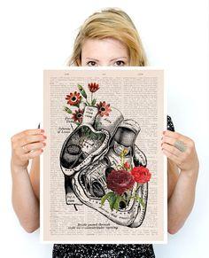 Flowery Heart Poster, A3 poster, anatomical art, Roses art, home decor, Wall art, flower art, Human heart poster PSK080 by PRRINT on Etsy https://www.etsy.com/listing/231322555/flowery-heart-poster-a3-poster