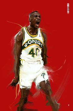 Graphic Designer Phil Caubit from Paris, France recaptured an emotional Shawn Kemp of the Sonics at the Seattle Center Coliseum, in Washington with this sick digital painting. Sport Basketball, Basketball Shirts, Basketball Legends, College Basketball, Basketball Players, Custom Basketball, Ncaa College, Best Nba Players, Nba Pictures