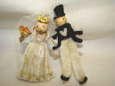 Adorable Vintage Chenille Spun Cotton Bride Groom Wedding Favors Japan | eBay