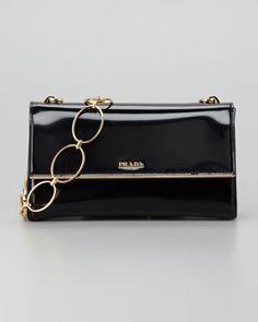 Prada Spazzolato Chain Shoulder Bag, Nero - Neiman Marcus