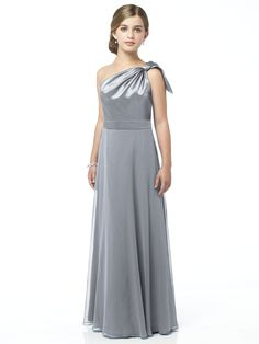 Dessy Collection Junior Bridesmaid JR514  One shoulder matte satin and lux chiffon full length dress with draped bodice and full skirt. Bridesmaid coordinating dress available as style 2861.