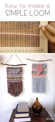 This DIY loom is exactly how you make your own customized wall hangings from yarn. Easy to make, this loom will take you back to your childhood when you used to make weaved rugs for hours! DIY on site. Weaving Loom Diy, Pin Weaving, Rug Loom, Weaving Art, Weaving Patterns, Weaving Textiles, Weaving Wall Hanging, Wall Hangings, Tapestry Loom