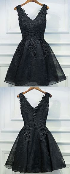 Sexy Black Short Prom Dress, Black Lace Prom Dress, Little Black Dress, Black Homecoming Dress, Black Party Dress, Short Evening Dress