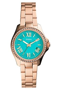 New Fossil Ladies Cecile Crystal Rose Gold Tone Stainless Steel Watch AM4578