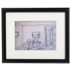 Original Charcoal Drawing Home Living wall art living by VESNAsART