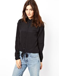 ASOS Blouse with Tie Waist and Placket Detail