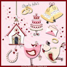 Clipart  mariageoiseauxamourFAIRE PART  png formats par DigiBella