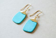 Turquoise Stone - Wire Wrapped Earrings