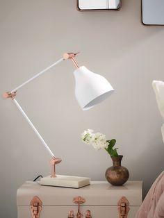 Copper and White Marble Desk Lamp | Cox & Cox