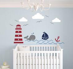 Nautical Theme Wall Decal - Nautical Decor - Nursery Wall Decal - Whale and Sailboat - Vinyl Baby Nursery Decor
