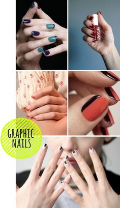 Graphic Nails. I like the top left ones and the middle right ones.