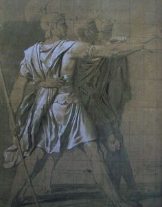 Study for the Oath of the Horatii the Three Horatii - Juramento de los Horacios - Wikipedia, la enciclopedia libre Jacque Louis David, Drapery Drawing, Academic Art, Old Master, Figurative Art, Art Projects, Louvre, Gallery, Fabric