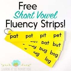 These free fluency strips are a great way for students to practice paying close attention to the vowel sound in a word! Read the entire post for more short vowel activities AND to grab all the freebies! Learning to Read Short Vowel Activities, Phonics Activities, Reading Activities, Reading Games, Spring Activities, Free Activities, Kindergarten Activities, Phonics Lessons, Teaching Phonics