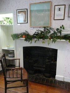The fireplace in Jane Austen's bedroom, which she shared with her sister, Cassandra.