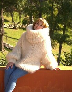 Marled Sweater, Mohair Sweater, Wool Sweaters, Sweater Cardigan, Mohair Yarn, Blouse Dress, Fur Coat, Turtle Neck, Ivory
